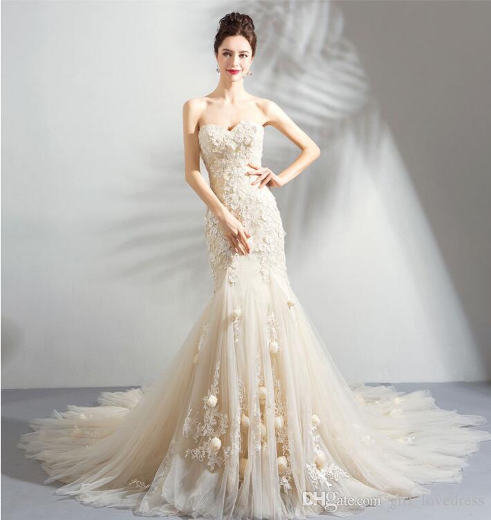 Real Photos Elegant Sweetheart Embroidered Mermaid Wedding Dresses