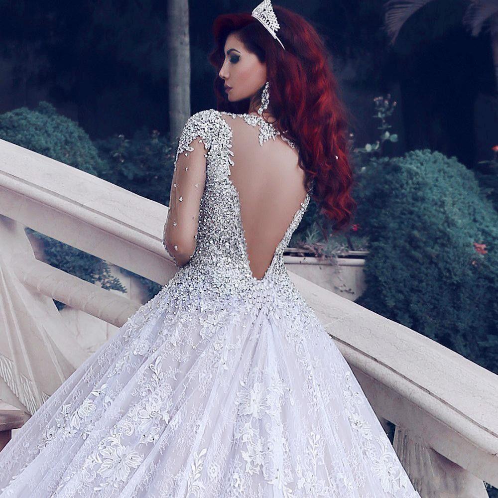 2019 Mais Recente Luxo Beading Manga Comprida Muçulmano Vestidos de Casamento Com Long Train Lantejoulas Vestidos de Noiva Do Laço Turke Robe De Mariage