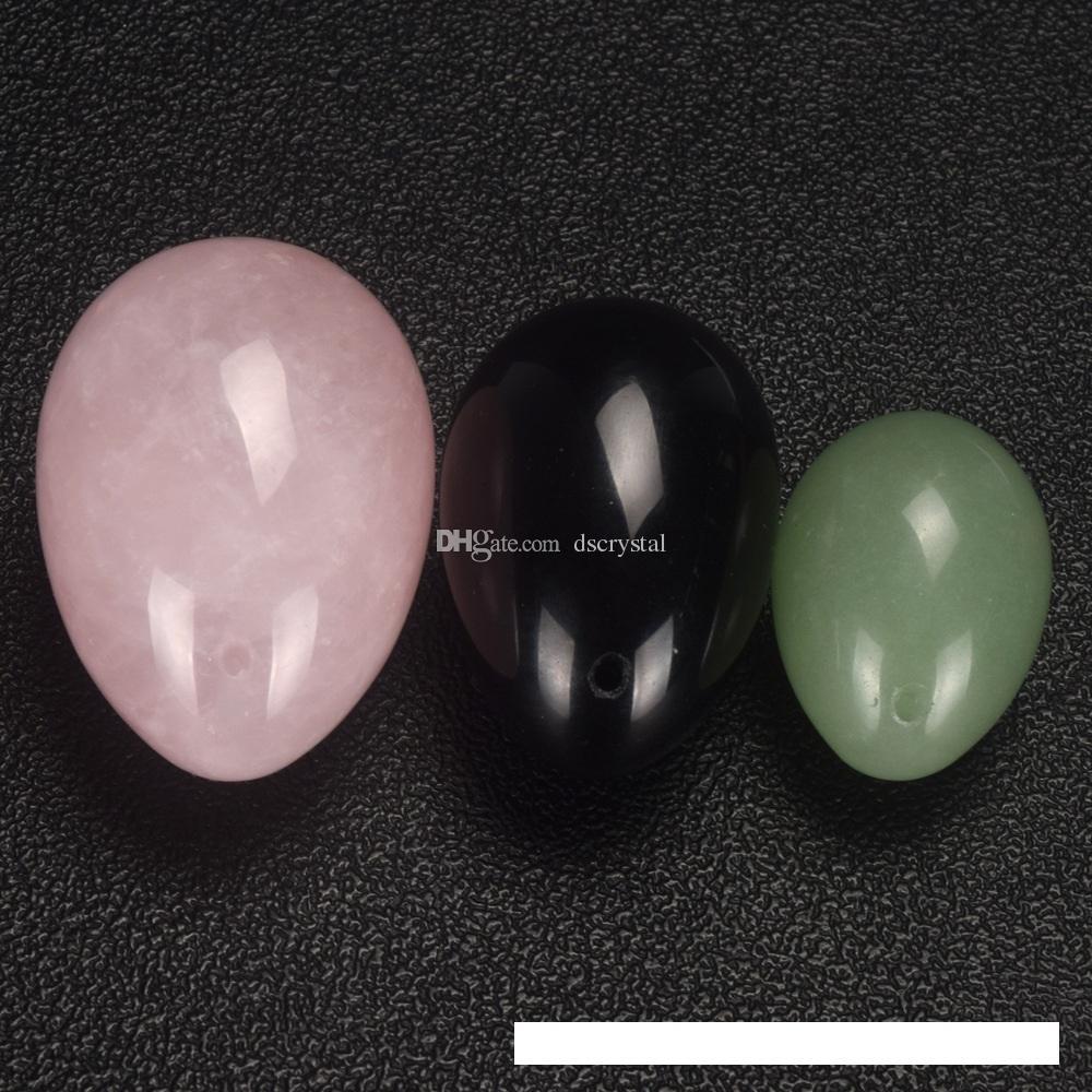 3 adet pembe + Yeşil + siyah Kristal Yumurta Halat Yoni şifa Yumurta Masaj aracı Pelvik Kegel Egzersiz Vajinal Sıkma top