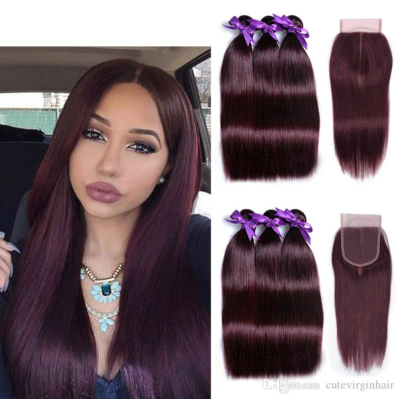 2018 99j Dark Red Pure Color Straight Hair 3 Bundles With 4x4 Middle