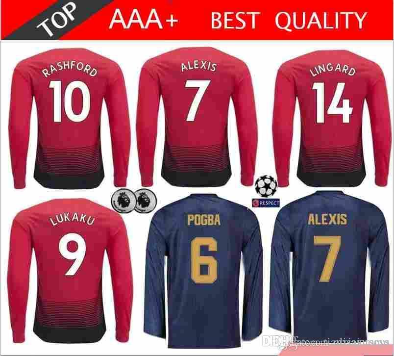 527b2f83039 2018 2019 Custom Manchester United Long Sleeve Soccer Jersey POGBA ALEXIS  LUKAKU RASHFORD LINGARD FRED MATIC LINDELOF MARTIAL Football Shirt UK 2019  From ...
