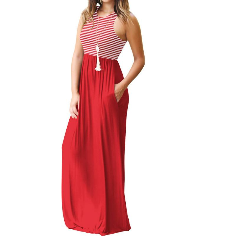 78283849db7 Plus Size Boho Summer Maxi Dress Women Sleeveless Striped Tank Long Dress  Femme Beach Sundress Loose Pocket Casual Dresses GV075 Floral Maxi Lace  Dress ...
