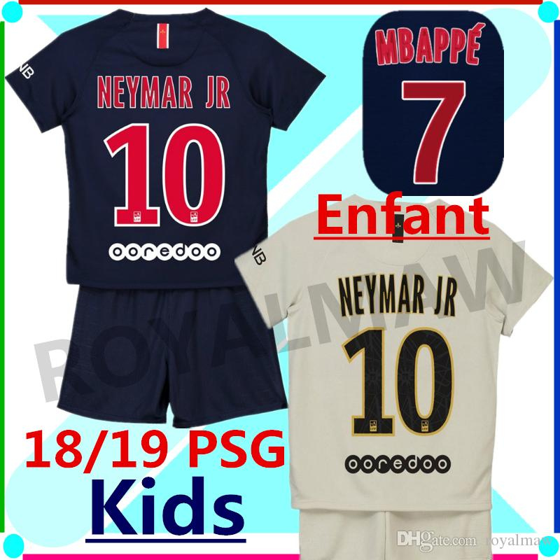 62e6a26cc 2019 KIT PSG DOMICILE 18 19 ENFANT 7 MBAPPE 5 MARQUINHOS EXTÉRIEUR KIDS  SOCCER JERSEY 2019 Paris Saint Germain Child Uniform Home Blue Navy Away  From ...