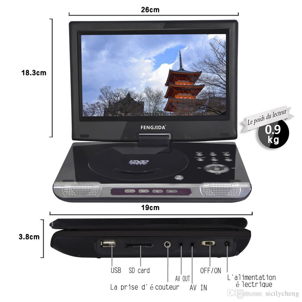 Wholesale Best quality Portable Multimedia Video 10 inch DVD Player Digital Multimedia Player with FM TV Game Card Read 3 Hour Battery life