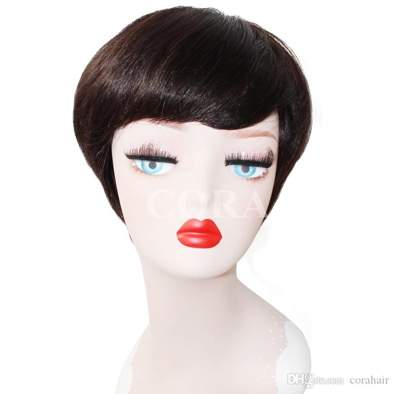 Cheap Natural black Short Cut Kinky Curly Afro Curl Wig Human Remy Hair Full Wigs with bangs in stock