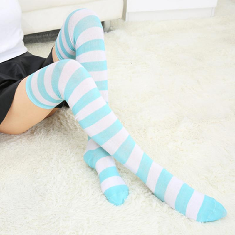 4d255a5bd 2019 Hot New Sexy Women Girl Striped Cotton Thigh High Stocking Over The Knee  Socks Fashion Dating Cosplay Stockings From Piterr