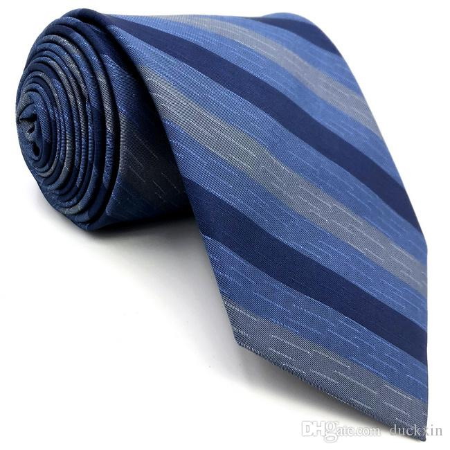 "D22 Blue Striped Mens Necktie Silk Fashion Novelty Extra long size 63"" Classic Groom Ties for male Dress Hanky"