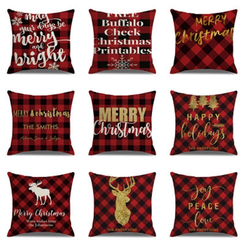 Plaid Christmas Pillows.Christmas Pillowcase Plaid 45 45cm Pillow Case For Christmas Home Decorations Sofa Decorative Throw Pillow Cover Christmas Gift