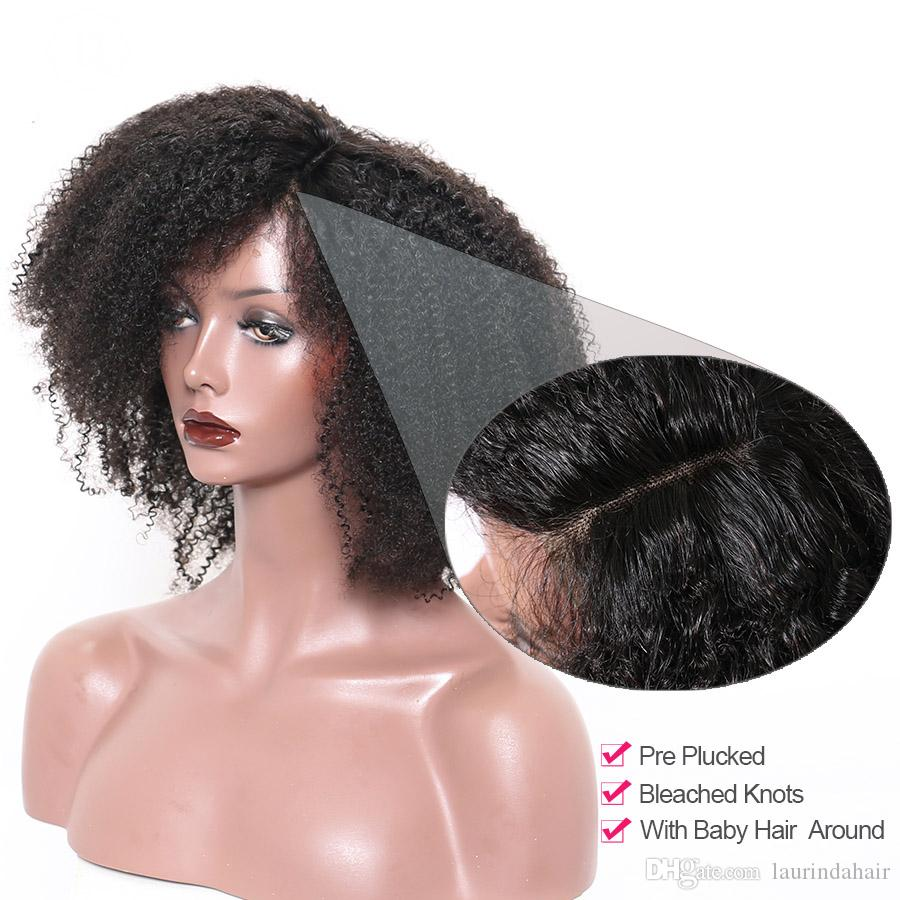 Afro Kinky Curly Lace Front Wig With Baby Hair Brazilian Virgin Short Human Hair Wigs Pre Plucked Full Natural Wig