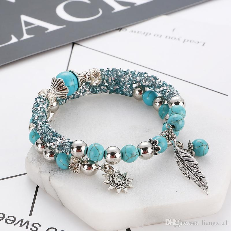 Jewelry bracelet gift for women Fashion String Ornament Girls Double Tier Turquoise Leaves Beaded traveler circle drill bracelet