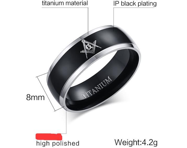 En gros maçonnique anneau nouveaux bijoux de mode 8MM franc-maçon maçonnique mens noir anneau de tungstène Beveled Edge bande de mariage bagues