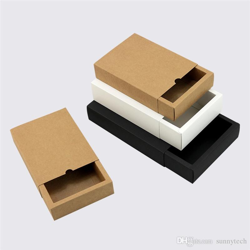 Bianco / Nero / Carta kraft Forma del cassetto Scatole di carta confezionate a mano con diverse dimensioni Confezioni regalo LZ1316