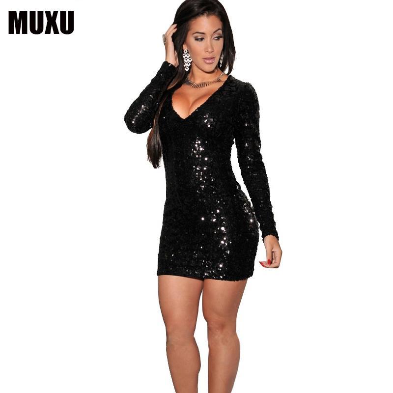 2fe056cd5457 Acquista Glitter Sexy Moda Femminile Manica Lunga Abito Paillettes Plus  Size Maglia Donna Vestito Matita Prendisole Club Sexy Vestidos Mujer A   47.16 Dal ...