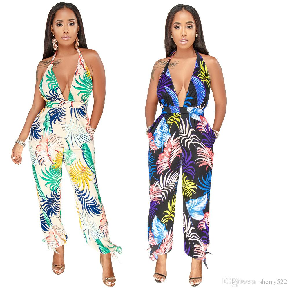 New 2017 Summer Fashion Sexy Rompers Womens Jumpsuit Halter Deep V Neck Sleeveless Backless Jumpsuits Long Flare Pants Overalls Women's Clothing