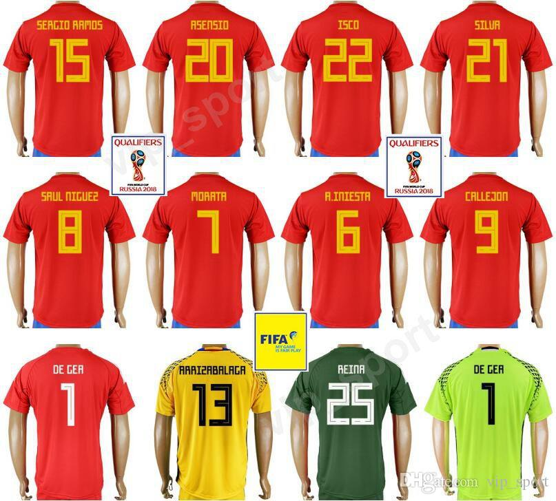 cbfbff07a1f 2019 Spain 2018 World Cup Jersey Soccer 22 ISCO 15 SERGIO RAMOS 20 ASENSIO  7 MORATA 6 A.INIESTA 21 SILVA Thai Customized Football Shirt Kits Red From  ...