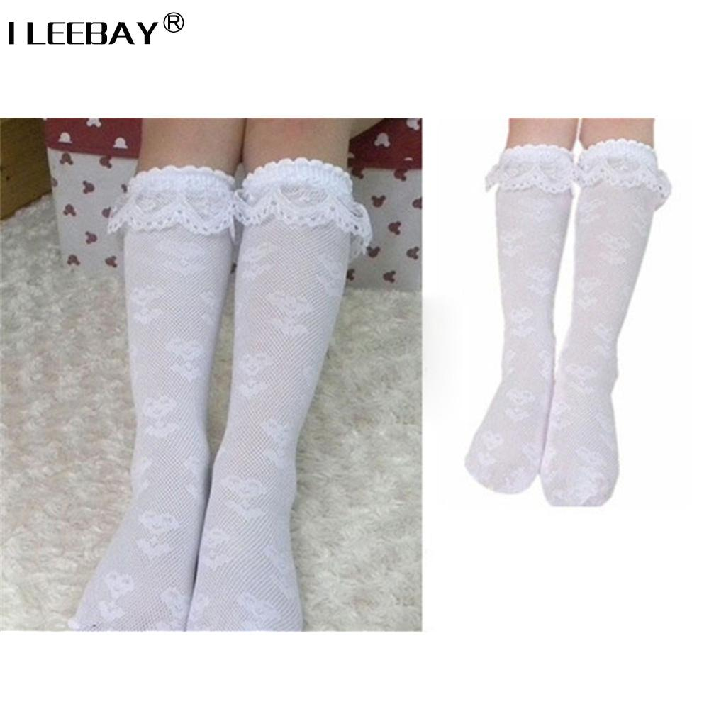 81bcd0492 5pairs Trim Frilly Ankle White Lace Socks Toddlers Kids Girls School High  Knee Socks with White Ruffle Lace 3-8 years Wholesale