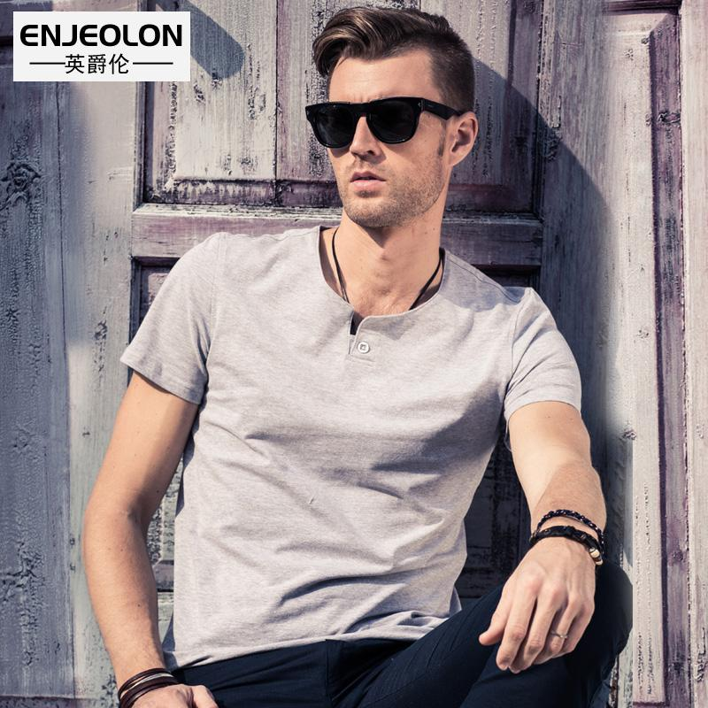 2d7b6e31ec Enjeolon Brand Short Sleeve T Shirt Men Plus Size S 4XL Cotton Tee ...