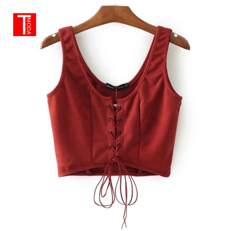 b0af8543dc 2019 Wholesale Summer Vintage Red Faux Leather Suede Cropped Tank Top Sexy  Backless Camis Women Tops Slim Cami Party Crop Top Fall Vest From Yigu003