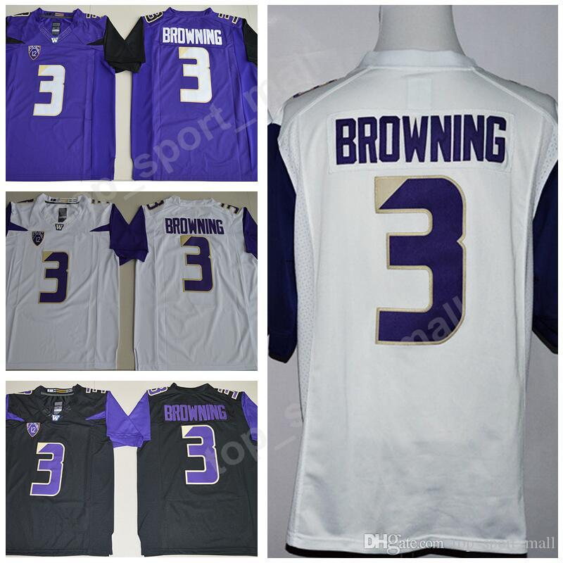 outlet store aed90 dd9c3 Jake Browning Jersey 3 Men NCAA Football College Washington Huskies Jerseys  University PAC 12 Stitched Color Purple White Black Size S-3XL