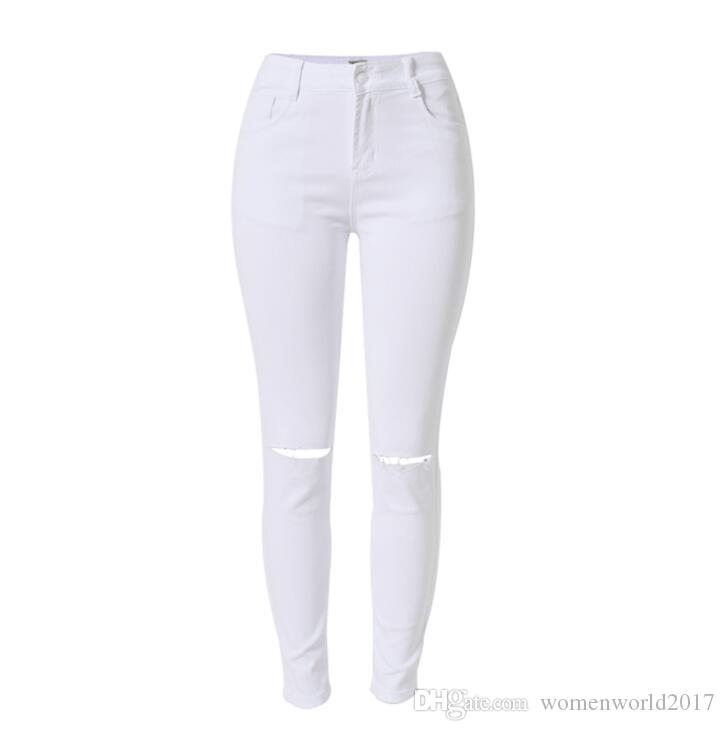 Women`s Jeans Summer 2018 High Waist Skinny Pants Push Up Jeans For Women Holes Ripped Stretch Denim Cotton Soft White Jeans