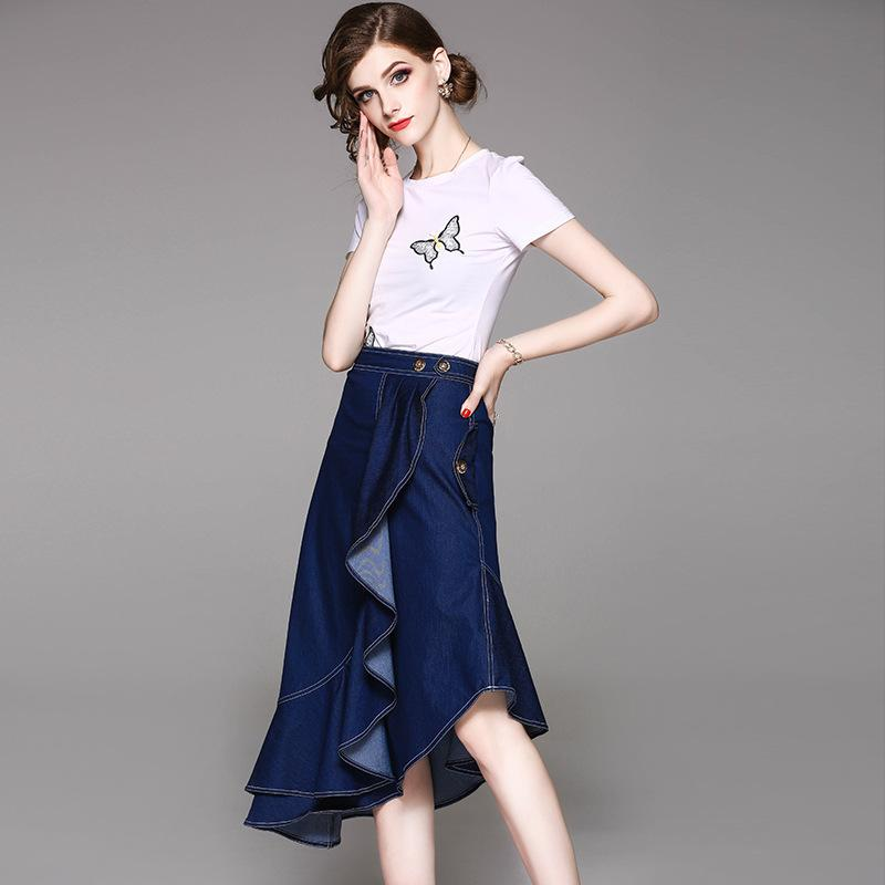 f46352f1ea7b2 High Fashion Streetwear 2018 Summer Designers Women s Asymmetrical Denim  Skirt Suit Set Elegant Two Piece Outfits Top Skirt Sets