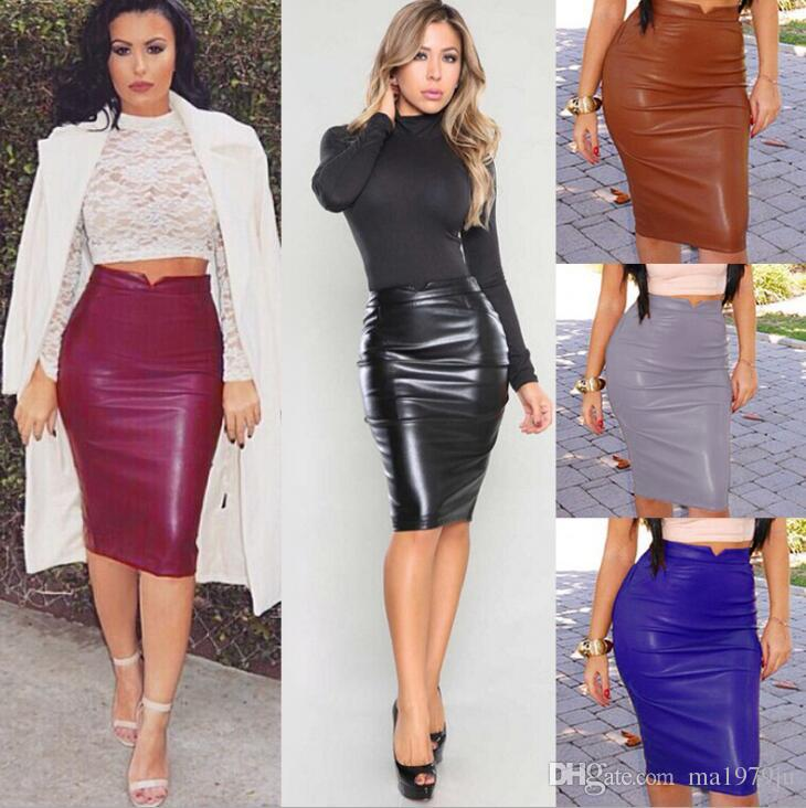 c0ee559d3ed97 Women Pu Leather Skirt Autumn Streetwear Casual Office Work Wear Bodycon  Pencil Skirt High Waist Long Velvet Skirts Women