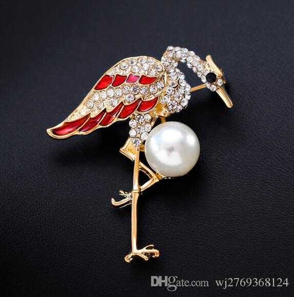 High-grade Crystal Enamel Red Crowned Crane Brooch Pearl Corsage Women Girl Wedding Party Jewelry Costume Accessories