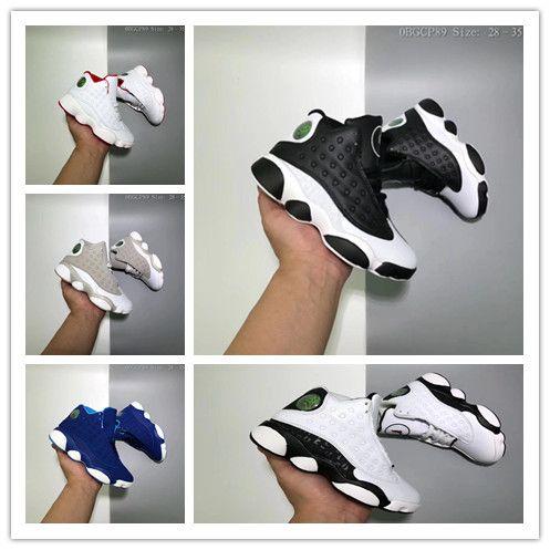 6b5f9d7585e665 2018 Cheap Kids 13 Children Basketball Shoes Boy Girl 13s Black ...