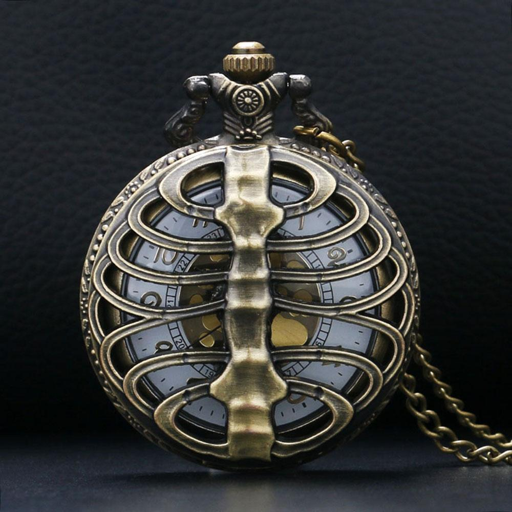 2017 Nursing WatchES Skeleton Spine Ribs Hollow Quartz Pocket Watch Cool Vintage Necklace Pendant Clock Chain Mens Womens Gifts