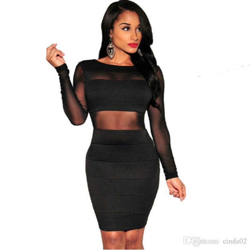 XS XXL Sexy Bandage Dress New Winter Black White Dress Long Sleeve Mesh  Patchwork Hollow Out Pencil Bodycon Dress Female Dresses Dresses For A  Cocktail ... 36c8ccb62ce9