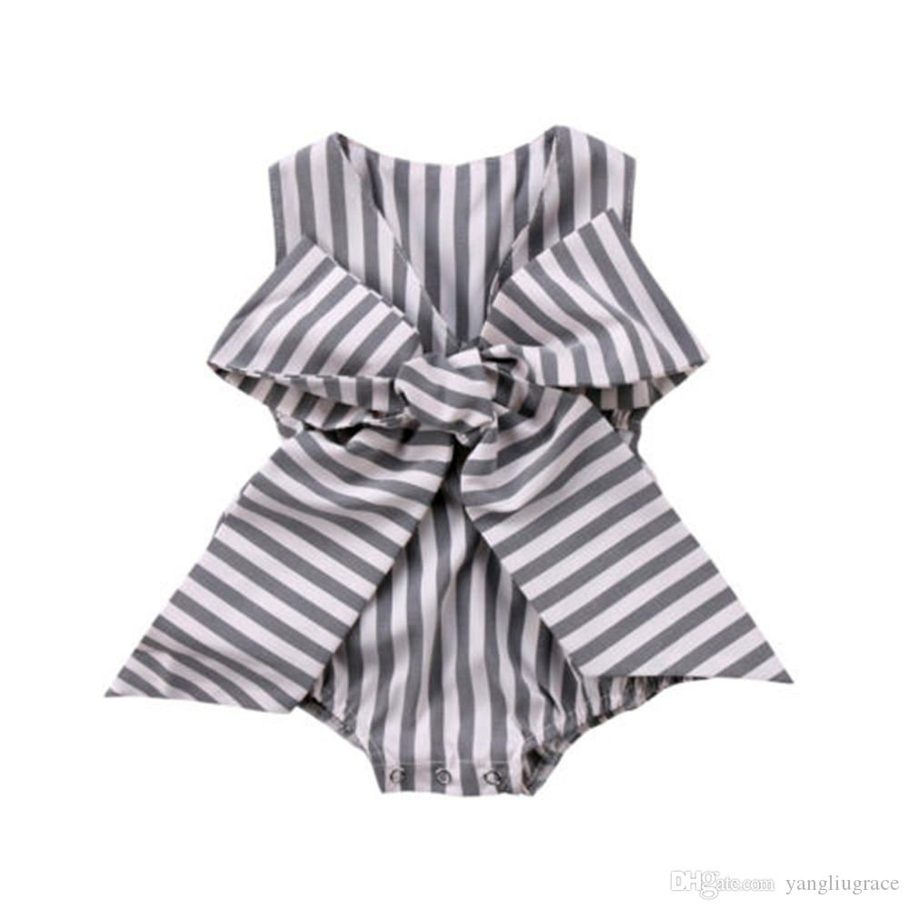7f8d21a97 Newborn Jumpsuits Baby Girls Rompers Bow Stripes Kids Clothings ...