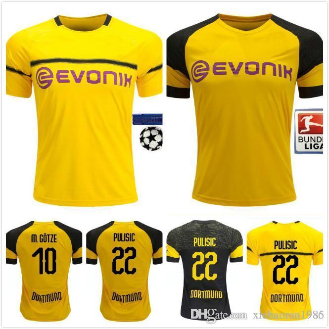 e58e9b5d1 Compre 2018 2019 Bundesliga FC Borussia Dortmund Jersey Homens De Futebol  10 GOTZE 11 REUS 22 PULÍSTICA 23 KAGAWA 33 WEIGL Camisa De Futebol Uniforme  De ...