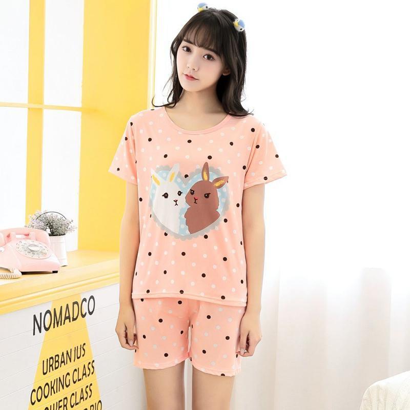 Factory Sale 2018 Pajamas Sets Cute Summer Thin Cotton Cartoon Print Women  Pyjamas Short Sleeve Sleepwear Suit Casual Homewear UK 2019 From  Blueberry07 3ac6234b4