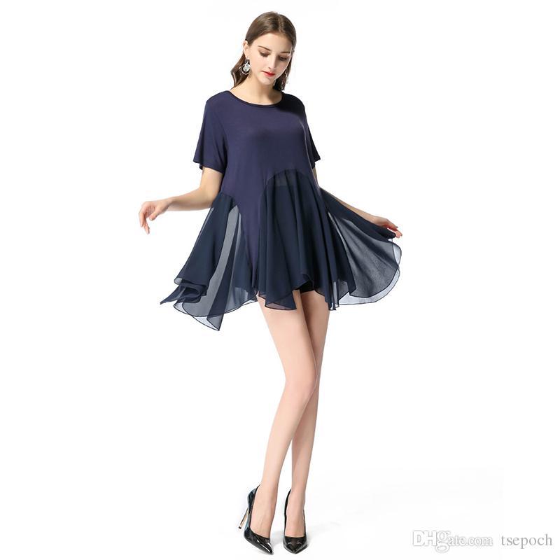 Rüschen Kleid Unregelmäßiges Großhandel Vintage Kurzes Sommerkleid tdQrsh