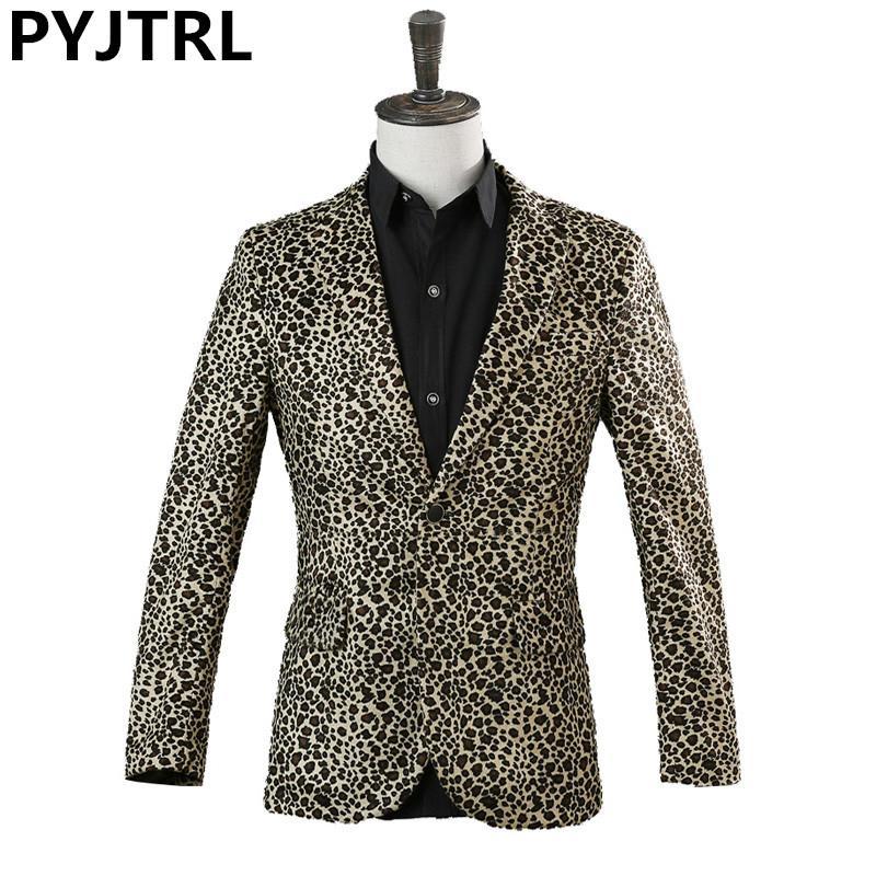 Acquista PYJTRL Leopard Print Giacca Maschile DJ Cantante Nightclub Stage  Show Vestito In Pelle Scamosciata Cappotto Allentato Bar Art Performance  Tide ... 1631a67497a