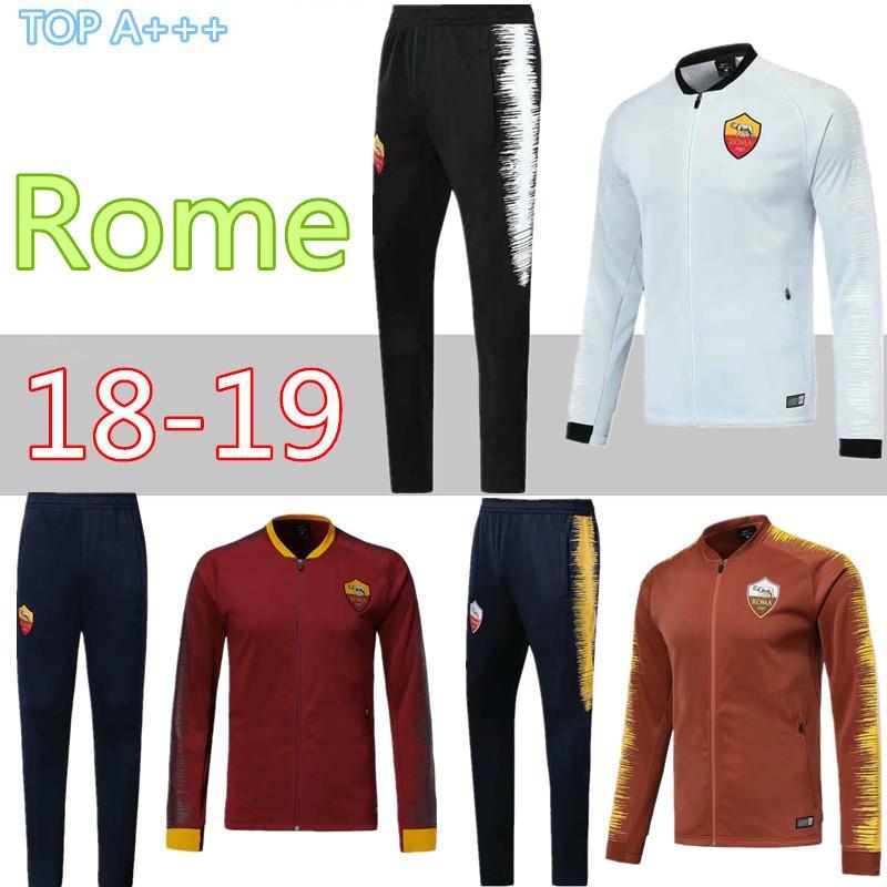 Compre Chaqueta De Fútbol Roma 2018 2019 Rome Football De La Mejor Calidad  18 19 TOTTI De Foot DE ROSSI DZEKO PEROTTI EL SHAARAWY Chaqueta Chaqueta De  ... a0dce28fe2086