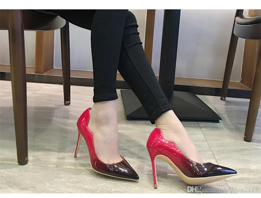 aa36f641f81 brand shoes red sloe women pumps high heel shoes pointed toe fine heel lady  wedding shoes bottom for the red fashion party +logo+box