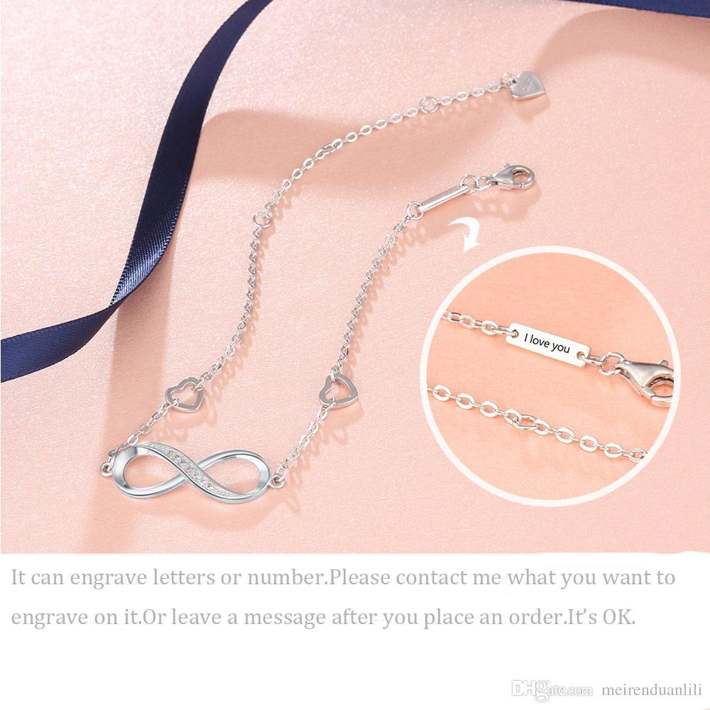 مخصصة لانهائي أساور نقية 925 فضة سحر سوار محفور سلسلة ربط BraceletsBangles للنساء يمكن تخصيص