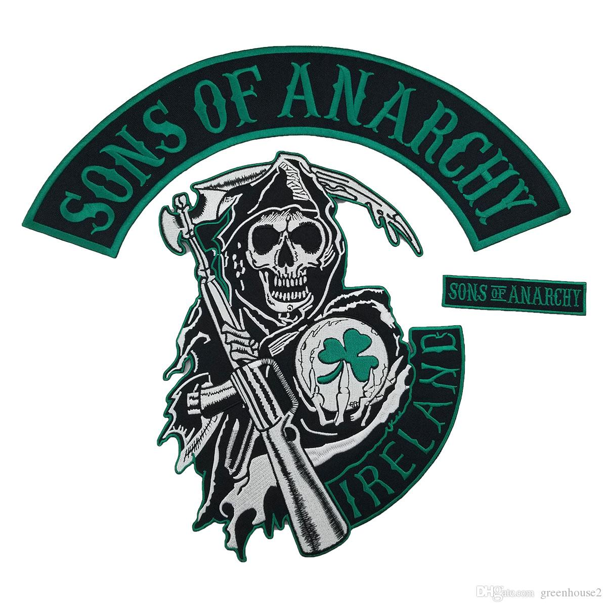 2019 IRELAND SONS OF ANARCHY Patch Motorcycle Club MC Tradition Biker Vest Big Punk Embroidery Applique From Greenhouse2