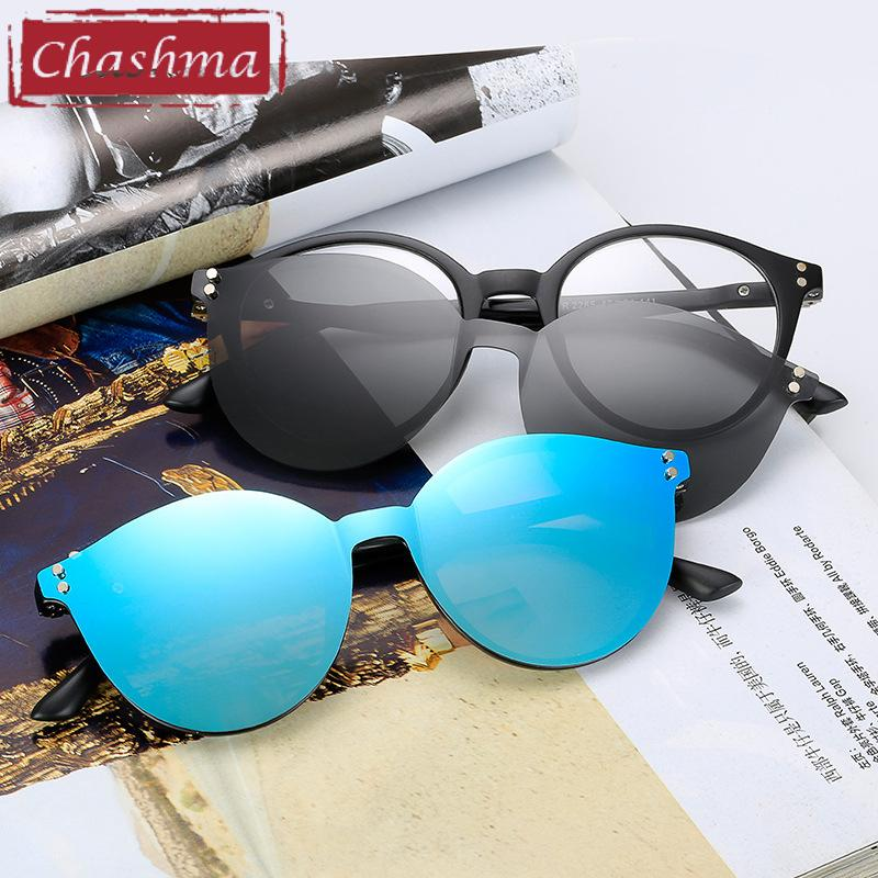 d2a479da8d 2019 Chashma Brand TR90 Flexible Retro Eyewear Women Clips Polarized Lenses  Magnet Men Mirror Sunglasses Optical Glasses Frames Round From Exyingtao