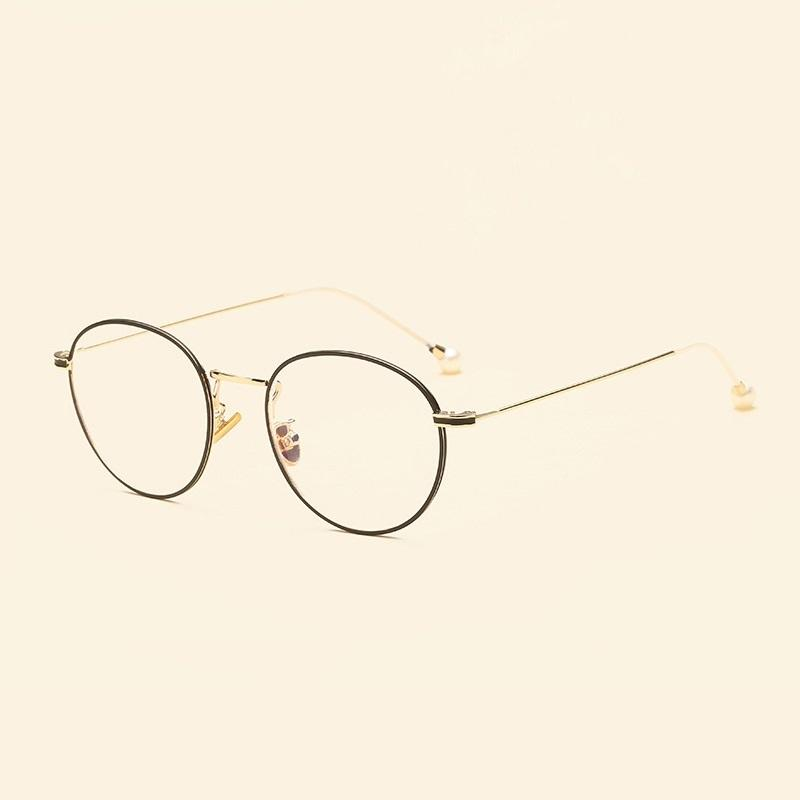 c2214f9bf6 Width-138 2018 New Metal Pearl Round Pearl Spectacles Frames Art ...