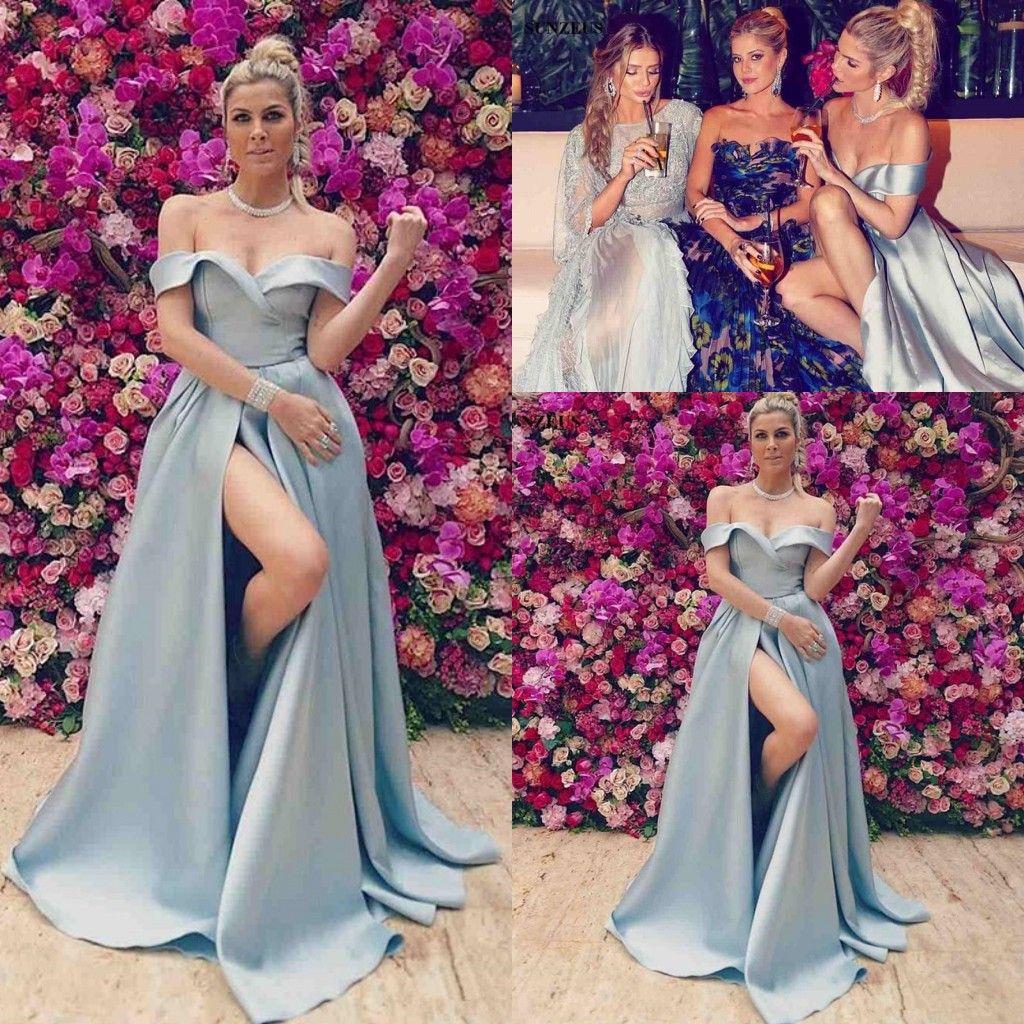 Compre Vestidos De Noche Largos De Sky Blue Off Shoulder Wear 2018 ...