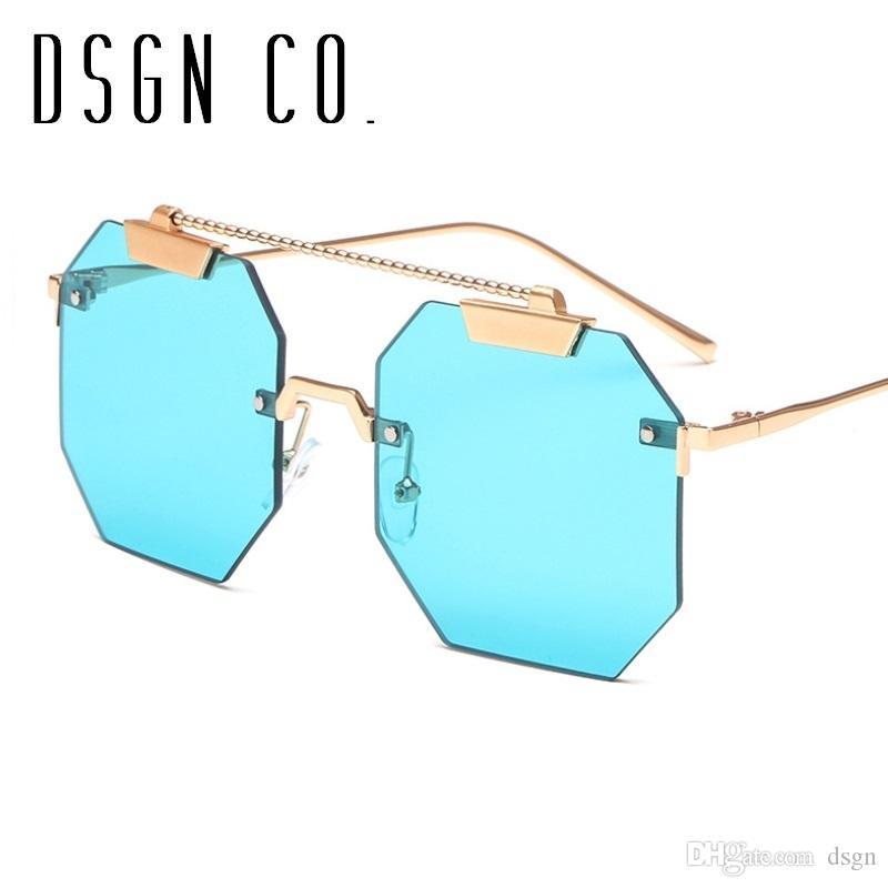 e57f6dd9529 DSGN CO. 2018 Luxury Rimless Sunglasses For Men And Women Stylish ...