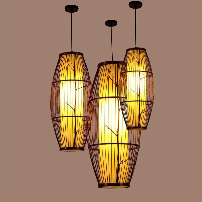 Lampes Rustique Suspension Tissage Antique Noir Bambou Lampe Simple Led Pendentif Restaurant Luminaire Maison Éclairage G054 AR3j54Lq