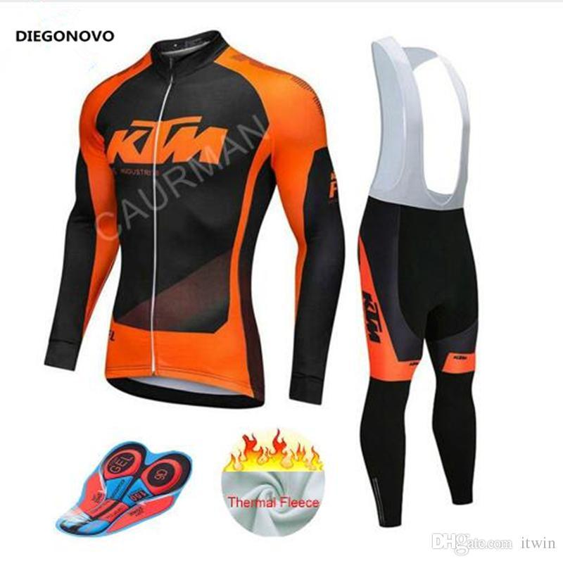 2018 KTM Cycling Jersey Men Pro Team Winter Thermal Fleece Long Sleeve MTB  Clothing Breathable Bib Pants Gel Pad Ropa Ciclismo Beer Cycling Jerseys  Womens ... 08d1ab7da
