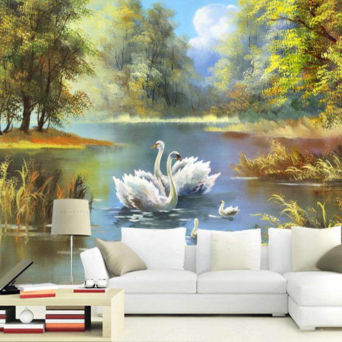 Countryside Natural Scenery Painting Canvas 5d Papel Murals 3d Wall Photo Mural Wallpaper For Sofa Background 3d Wall Mural