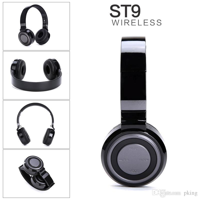 ST9 Foldable Wireless Bluetooth Headphone Support TF Card Pluggable Wired Earphone Headset for Mobile Phone for Gaming with Mic