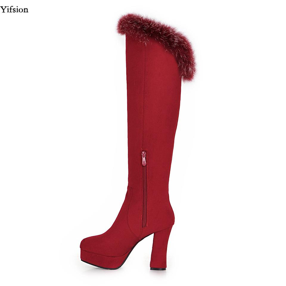 45fdeefdf4b77 Yifsion New Women Platform Knee High Winter Boots Square High Heel ...