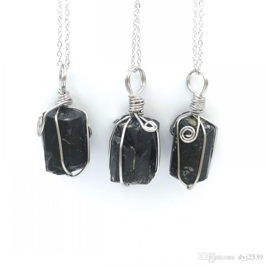 Wholesale Nugget Black Tourmaline Crsytal Stone Pendant Necklace ...