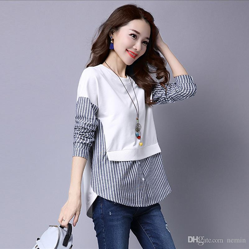 32882a67dff 2019 Wholesale 2017 Spring Blouses Shirt Female Long Sleeve Casual Striped  Patchwork Fake Two Pieces Women Blouses Loose Plus Size Lady Tops From  Nemin